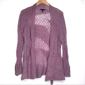 Eileen Fisher open knit mauve cardigan sweater